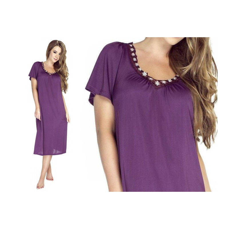Andalea erotyczna koszulka koronkowa z obrożą duże rozmiary SB/1007 od 38 do 56