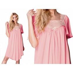 Jedwabna koszula nocna w dużych rozmiarach Mewa Józefina różowa