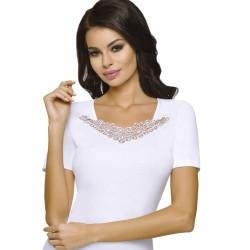 Bawełniana bluzka w dużych rozmiarach Emili Flora biała
