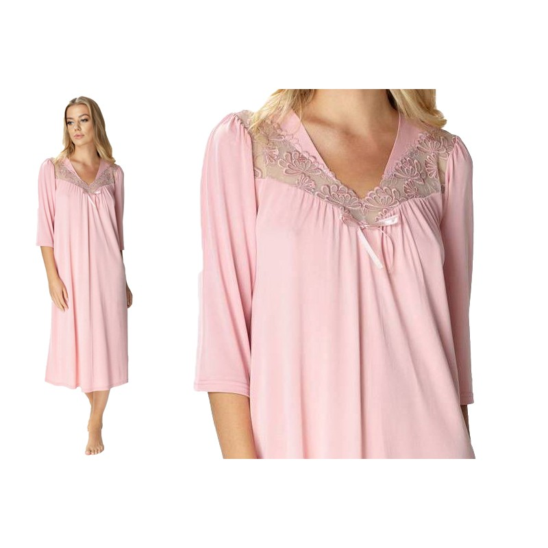 Wiskozowa koszula nocna w dużych rozmiarach różowa 50-tka