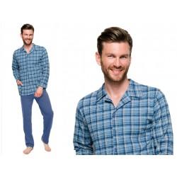 Duża męska piżama z koszulową górą Taro Gracjan niebieska 5XL