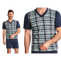 Piżama męska dla otyłych panów Roman granatowa